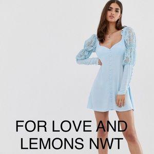 For love & lemons xs blue dress NWT